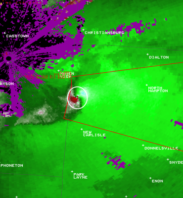 Image from the Dayton Terminal Radar, April 2, 2015, showing a strong couplet (inside the white circle) that led to a Tornado Warning. Image courtesy NOAA NWSFO Wilmington.